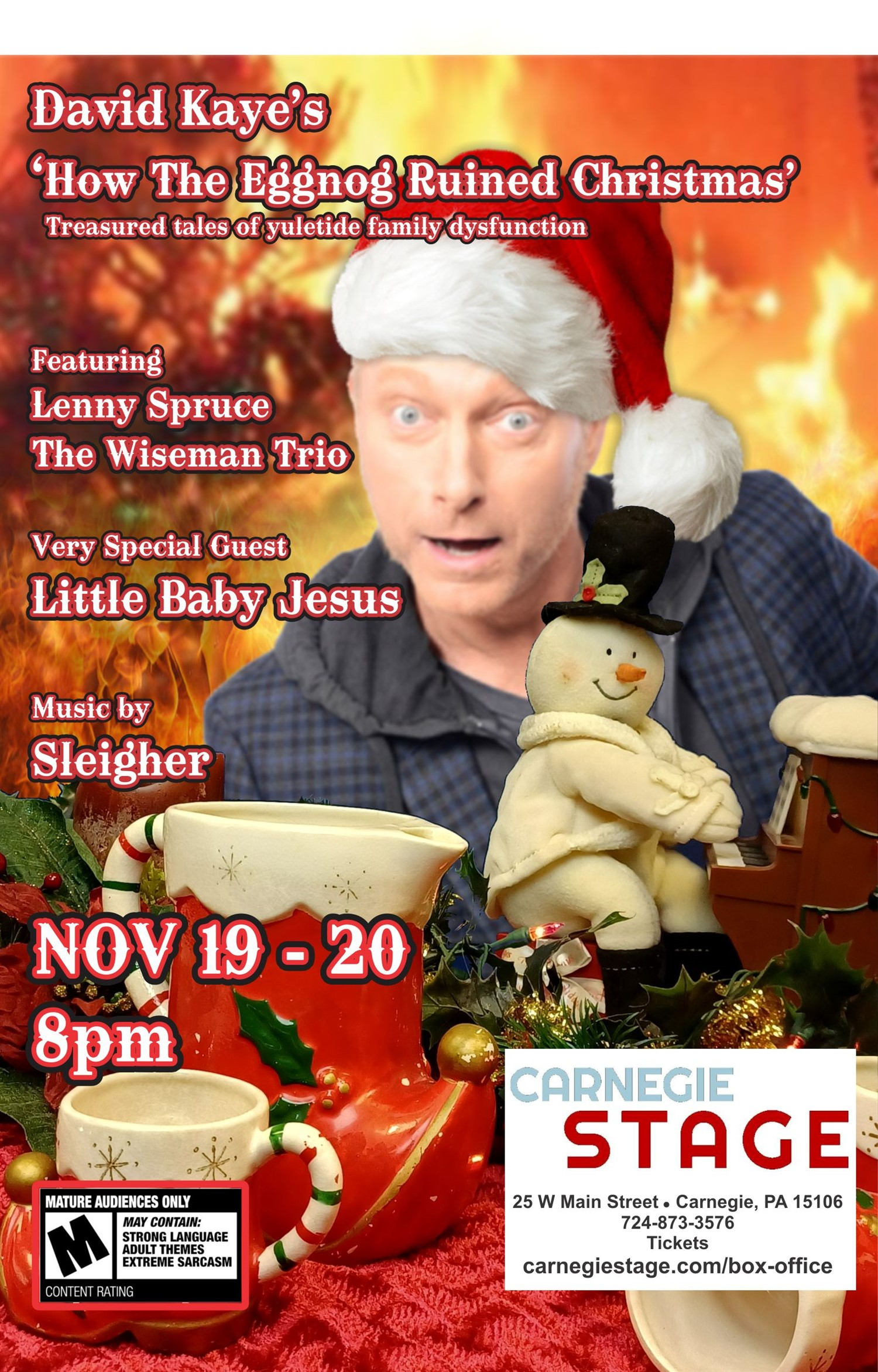 David Kaye's 'How The Eggnog Ruined Christmas' (Treasured tales of yuletide family disfunction) on Nov 22, 00:00@Carnegie Stage - regular 70 - Buy tickets and Get information on Carnegie Stage carnegiestage