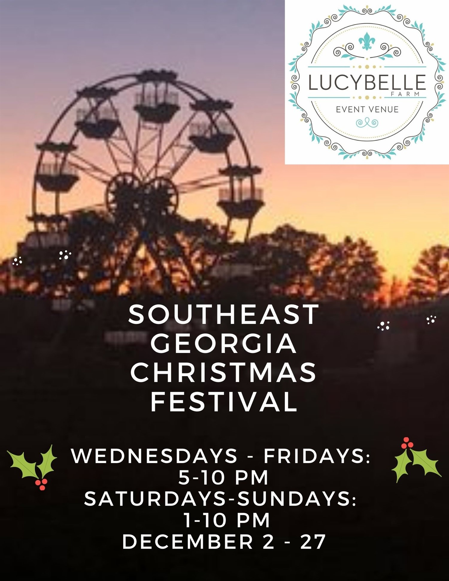 :Southeast Georgia Christmas Festival General Admission - Ages 5 and up on Dec 20, 13:00@Lucy Belle Farm - Buy tickets and Get information on Lucy Belle Farm southeastgeorgiachristmasfestival