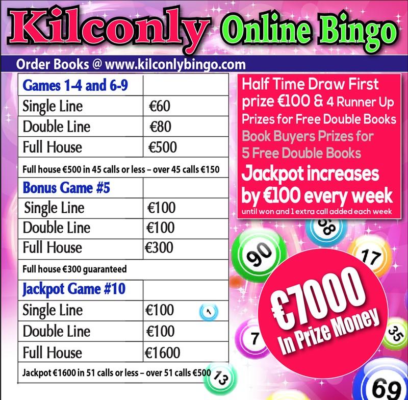 Get Information and buy tickets to Kilconly Bingo Friday 18th June 2021 €7000 in Prizes on kilconlybingo.com