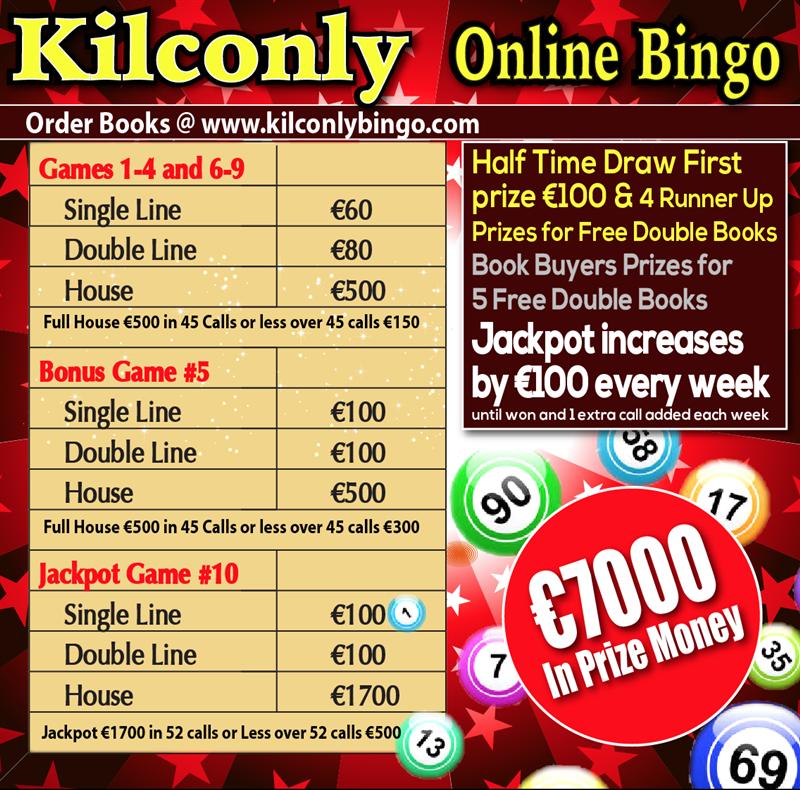 Get Information and buy tickets to Kilconly Bingo Friday 25th June 2021 €7000 in Prizes on kilconlybingo.com