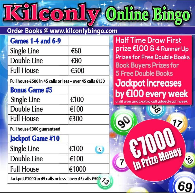 Get Information and buy tickets to Kilconly Bingo Friday 23rd July 2021 €7000 in Prizes on kilconlybingo.com