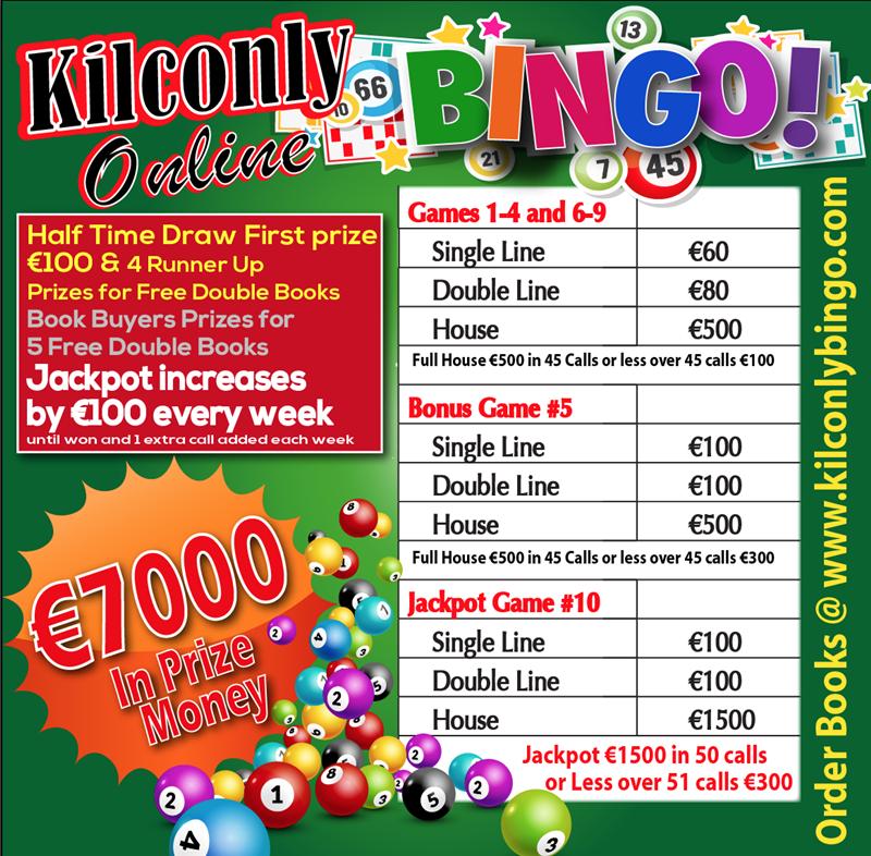 Get Information and buy tickets to Kilconly Bingo Friday 22nd October 2021 €7000 in Prizes on kilconlybingo.com