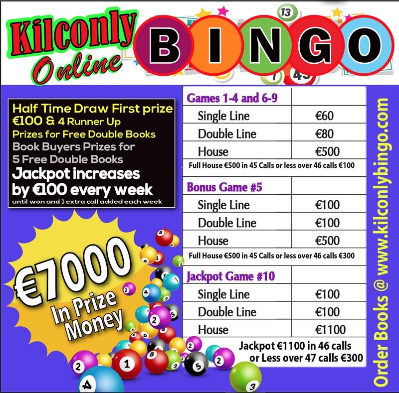 Get Information and buy tickets to Kilconly Bingo Friday 24th September 2021 €7000 in Prizes on kilconlybingo.com