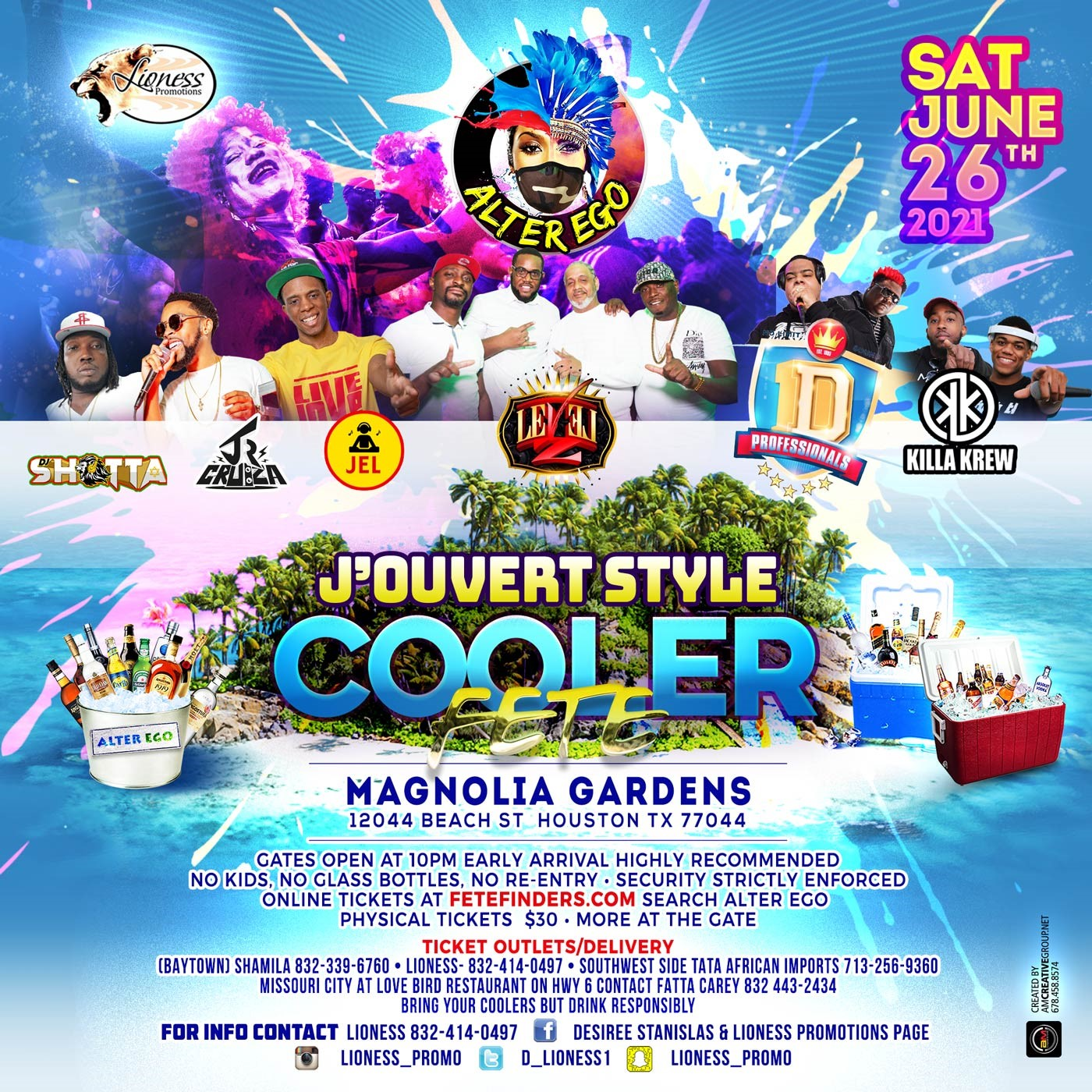 ALTER EGO J'ouvert Style Cooler Fete on jun. 26, 21:00@Magnolia Gardens - Buy tickets and Get information on www.fetefinders.com tickets.fetefinders.com