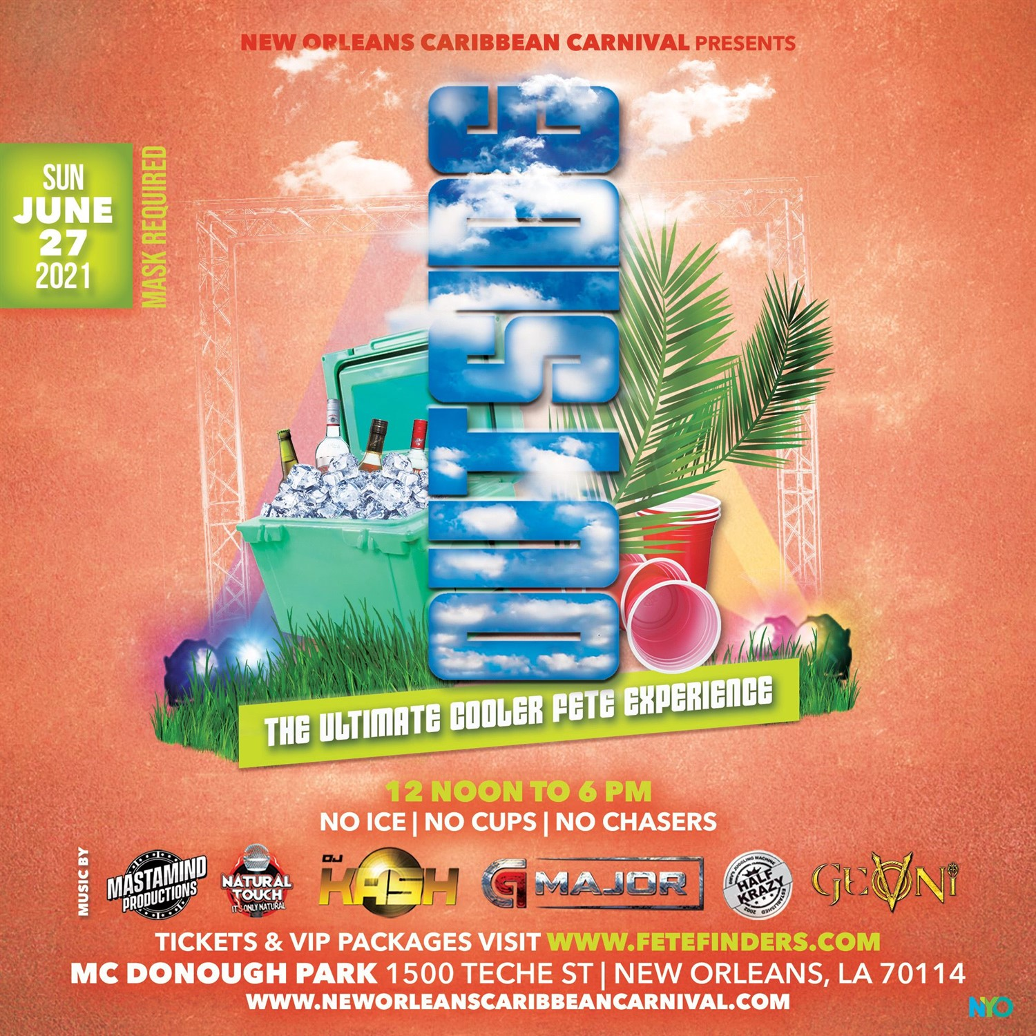 NOLA PRESENTS: OUTSIDE!!! The Ultimate Cooler Fete Experience on Jun 27, 12:00@Mc Donough Park - Buy tickets and Get information on www.fetefinders.com tickets.fetefinders.com