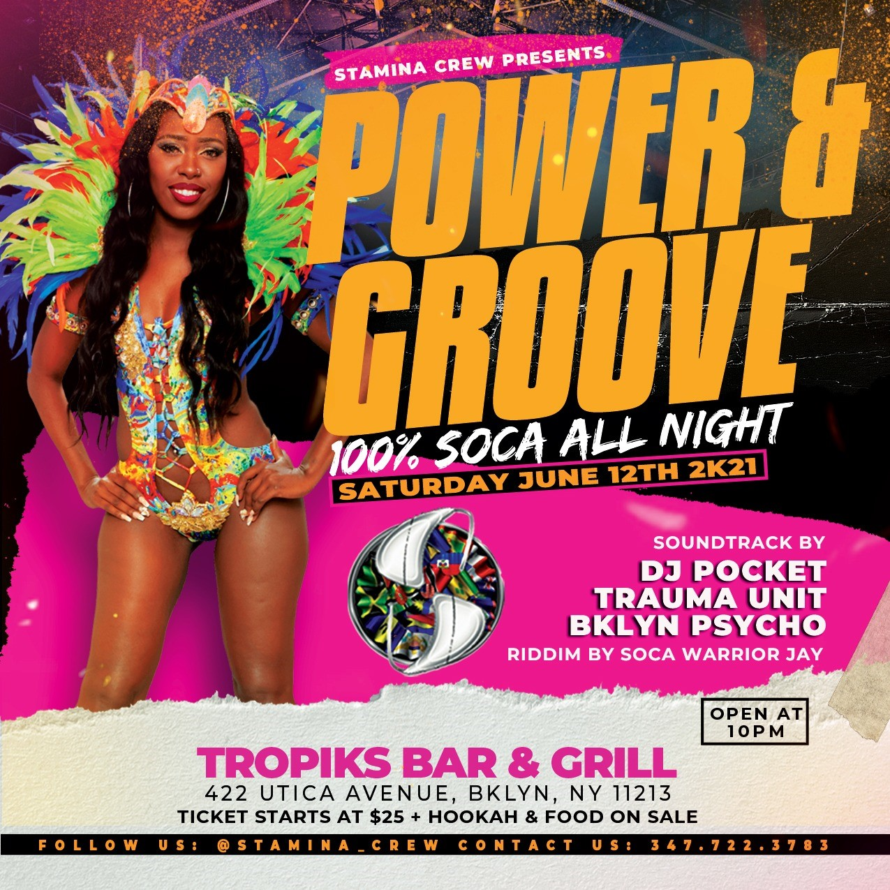 POWER AND GROOVE  on Jun 12, 22:00@TROPIKS BAR AND GRILL - Buy tickets and Get information on www.fetefinders.com tickets.fetefinders.com