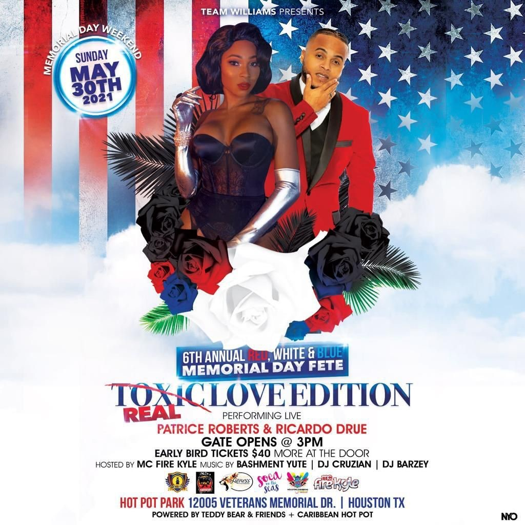 6th Annual Red, White and Blue Memorial Weekend Fete Real Love Edition on may. 30, 15:00@Hot Pot Park - Buy tickets and Get information on www.fetefinders.com tickets.fetefinders.com