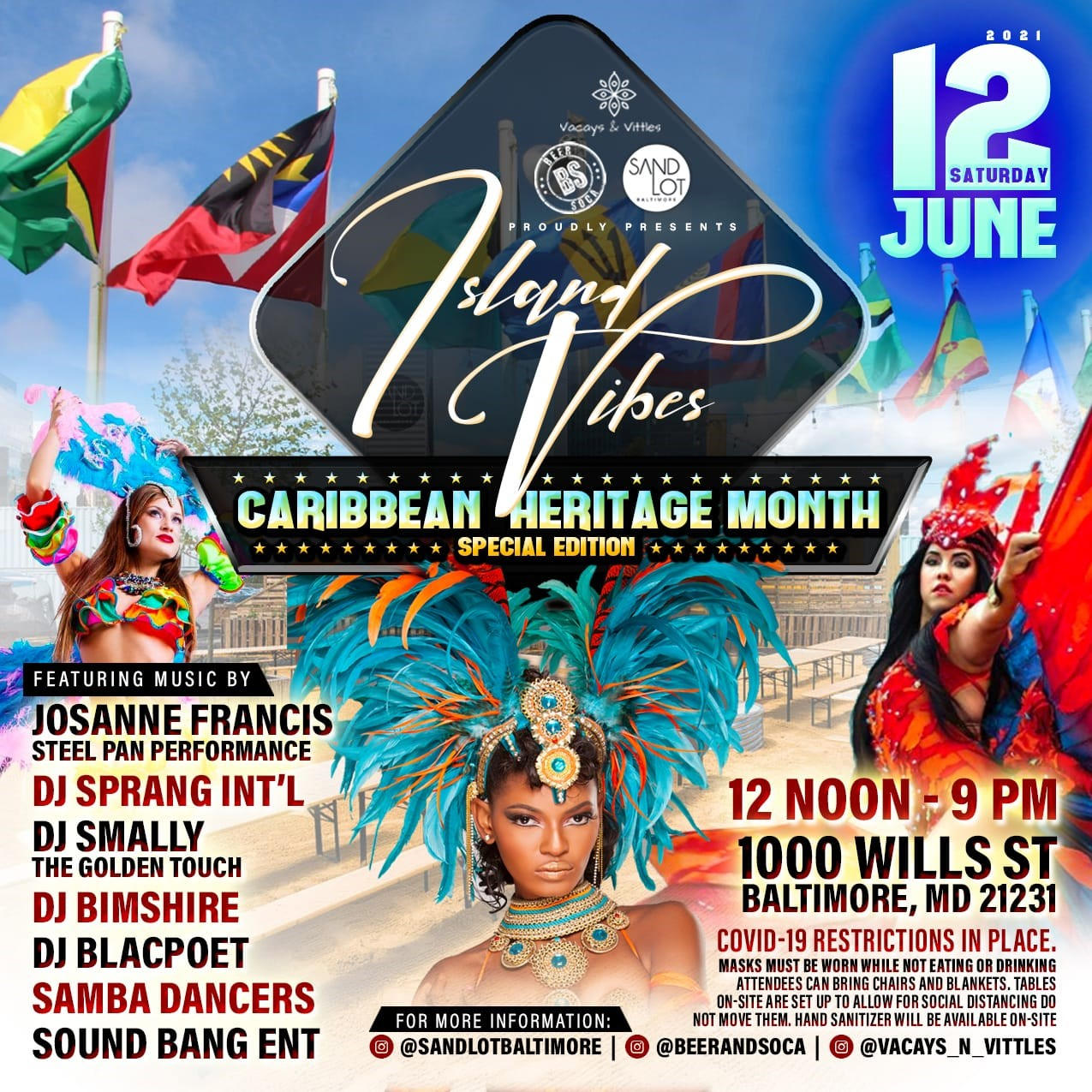 ISLAND VIBES Celebrating Caribbean Heritage Month on Jun 12, 12:00@Sandlot Baltimore - Buy tickets and Get information on www.fetefinders.com tickets.fetefinders.com