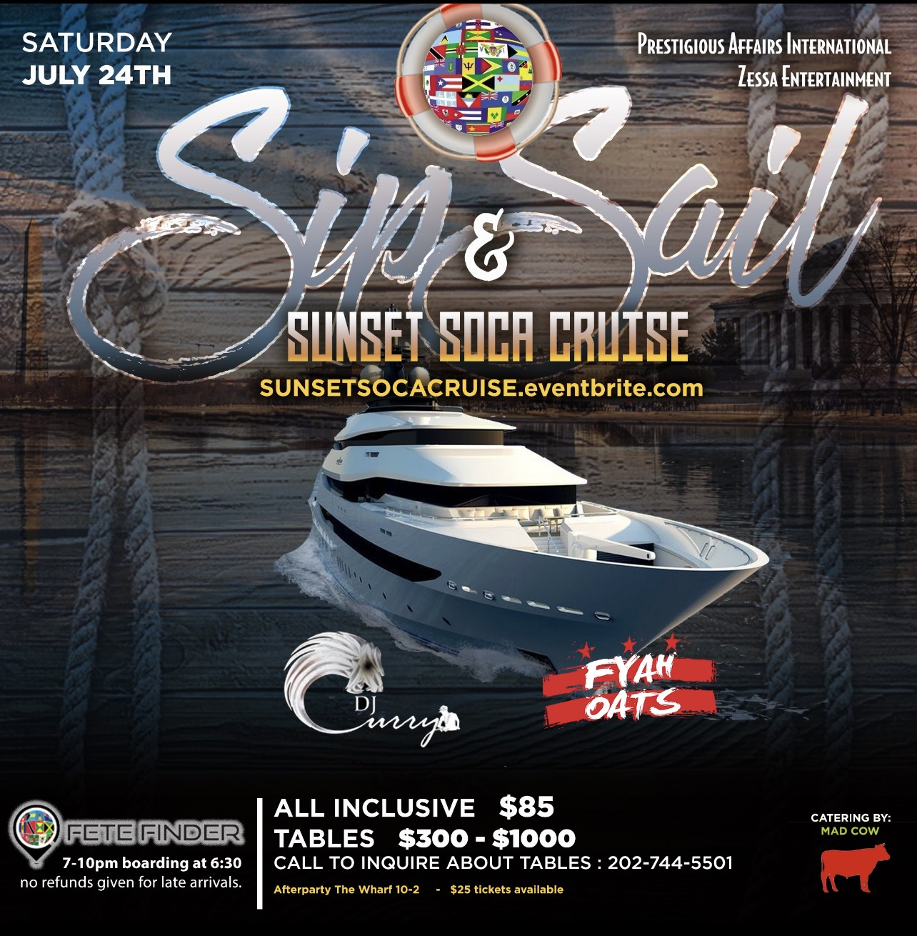 Sip & Sail Sunset Soca Cruise  on Jul 24, 18:45@National Elite - Buy tickets and Get information on www.fetefinders.com tickets.fetefinders.com
