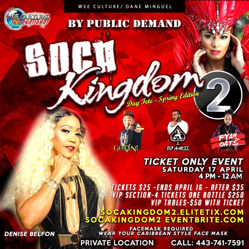 Get Information and buy tickets to SOCA KINGDOM 2  on www.fetefinders.com