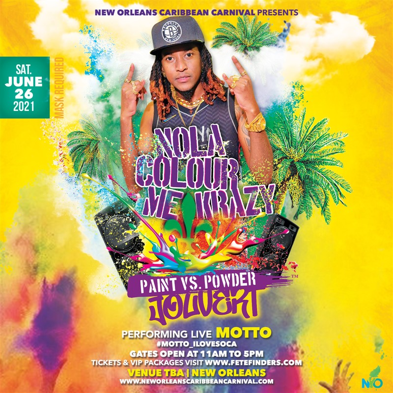 Get Information and buy tickets to NOLA Colour Me Krazy Jouvert NOLA Colour Me Krazy Paint Vs. Powder on www.fetefinders.com