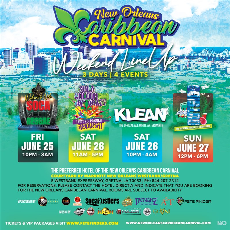 Get Information and buy tickets to New Orleans Caribbean Carnival Weekend Passes Early Bird and General Admission Weekend Passes on www.fetefinders.com