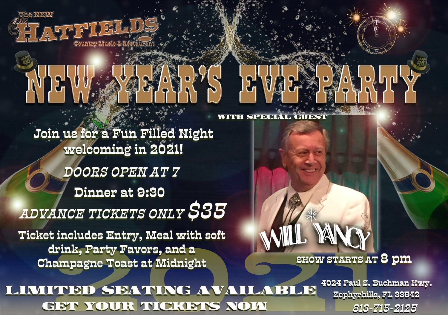 NYE with Will Yancy Admission includes meal, soft drink, party favors and champagne toast at midnight on Dec 31, 20:00@Hatfields - Buy tickets and Get information on Hatfields