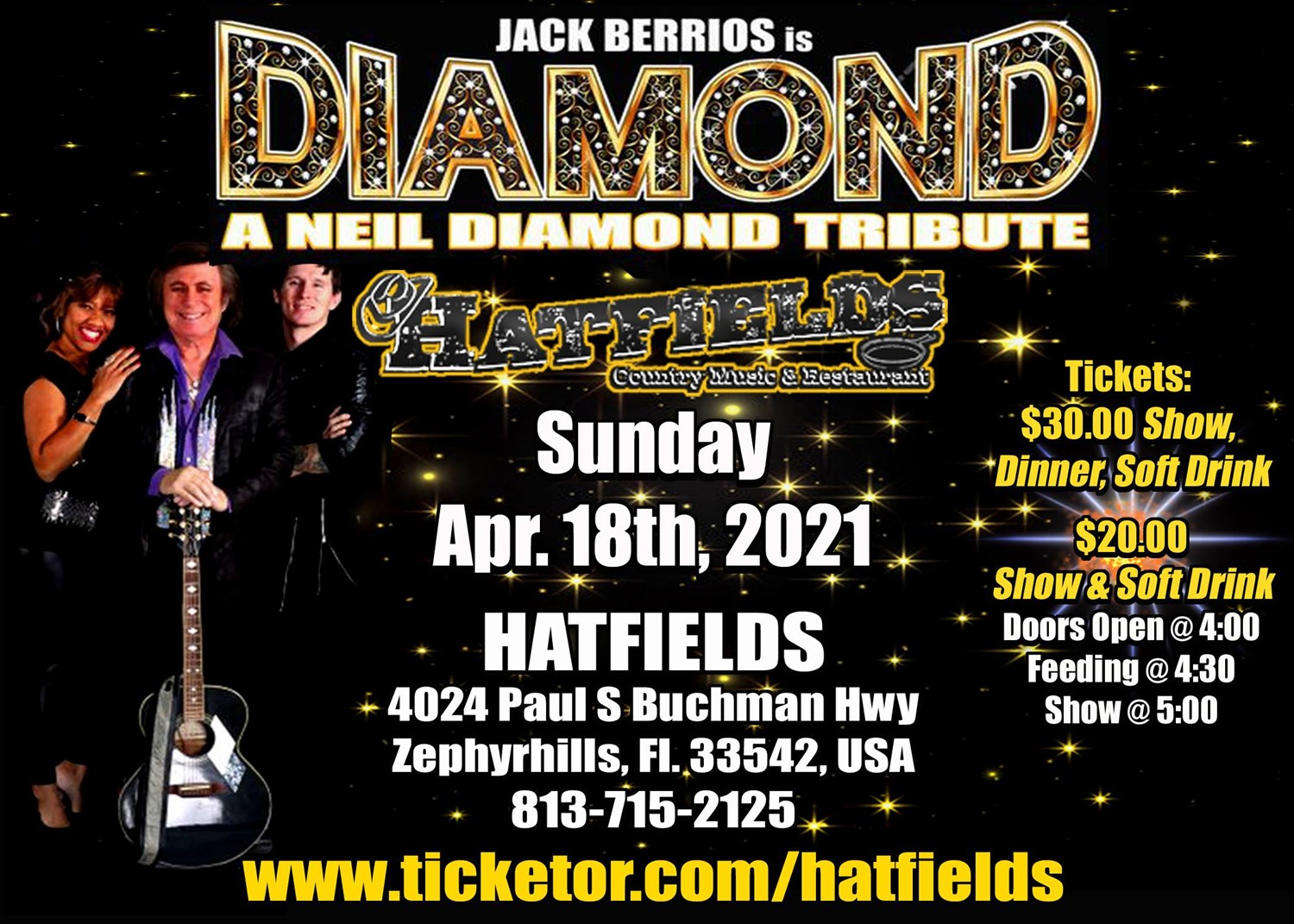 Neil Diamond Tribute Show Starring Jack Berrios on Apr 18, 17:00@The New Hatfield's - Buy tickets and Get information on Hatfields