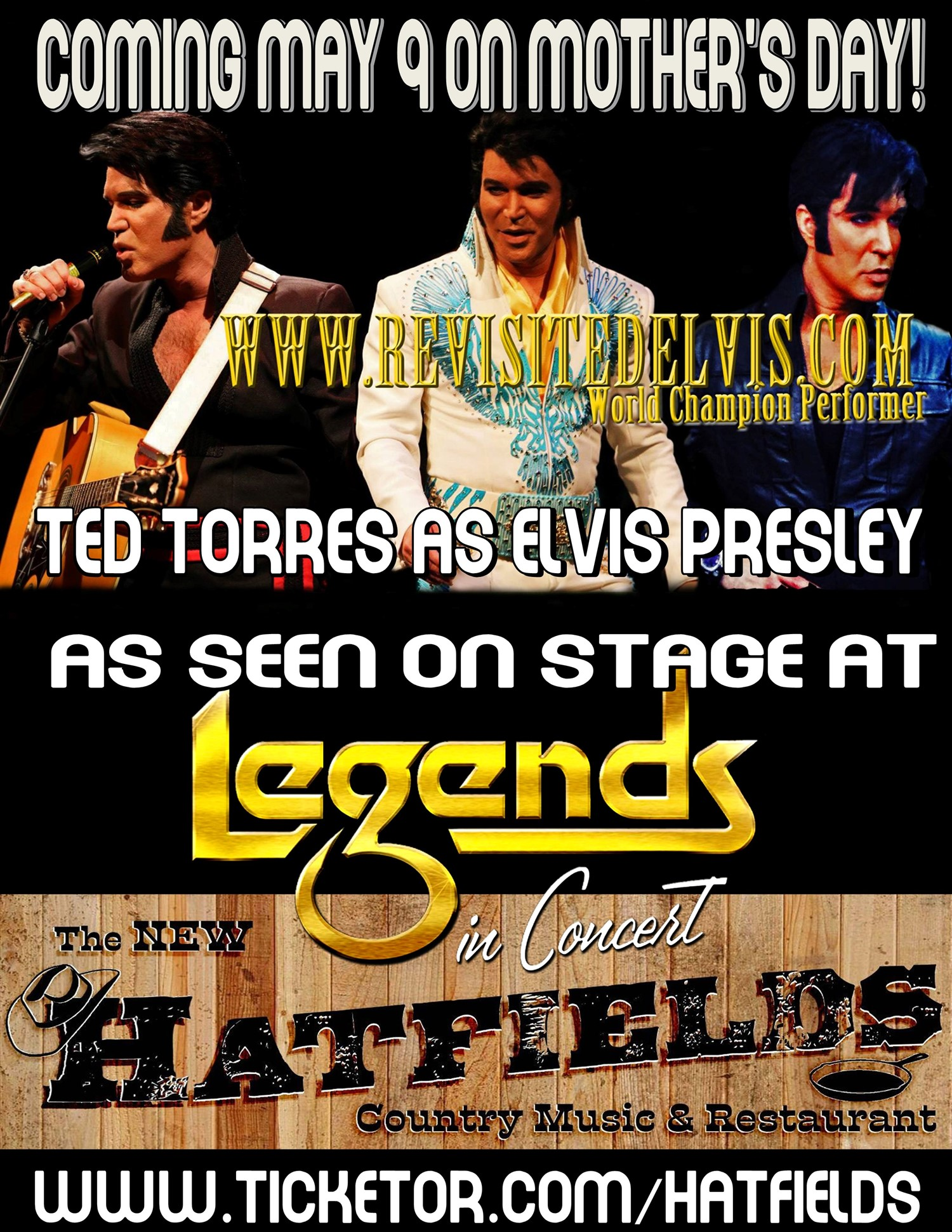 Elvis on Mother's day tribute show!  on may. 09, 16:00@The New Hatfield's - Buy tickets and Get information on Hatfields