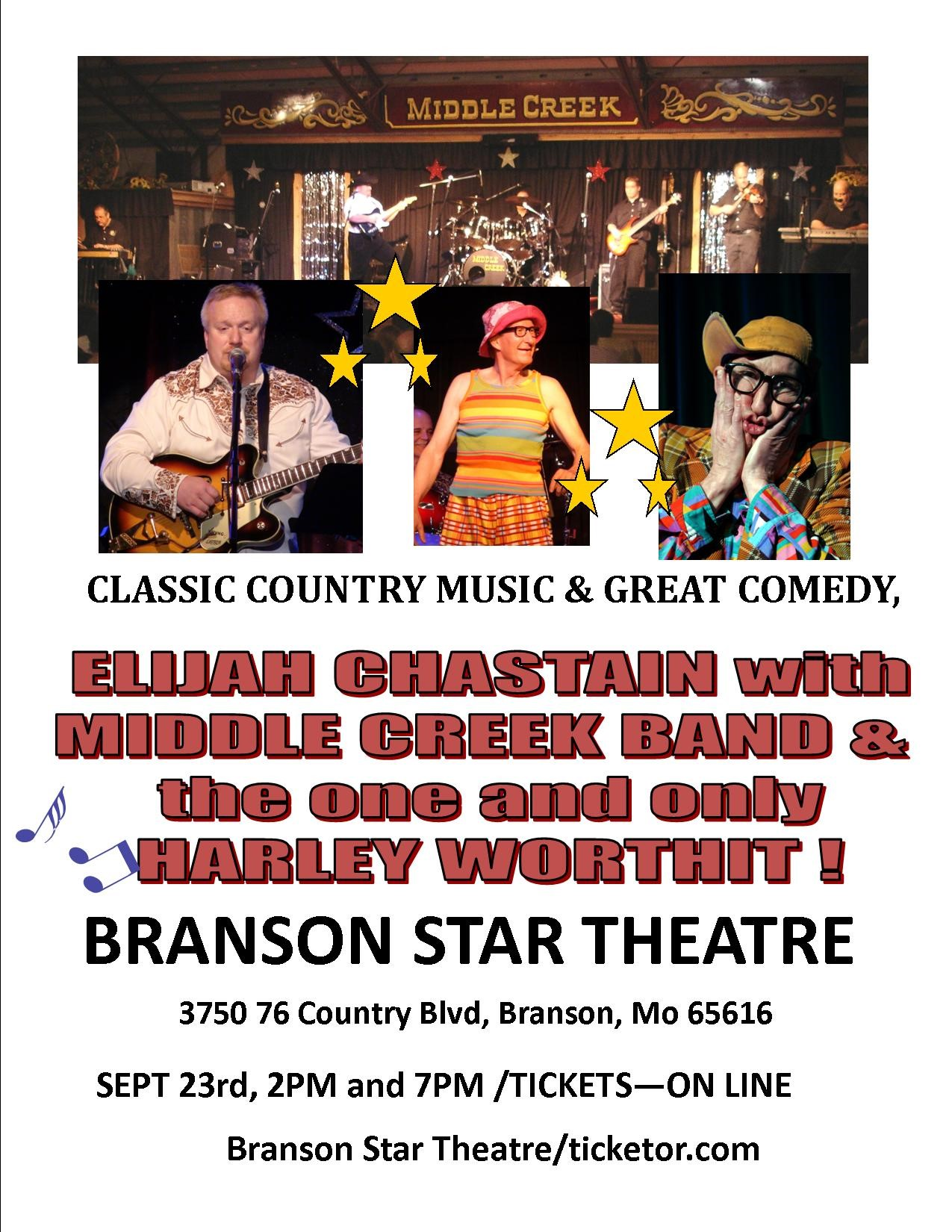 The Middle Creek Band with Harley Worthit  on Sep 25, 00:00@Branson Star Theater - Pick a seat, Buy tickets and Get information on The Branson Star Theater bransonstartheater
