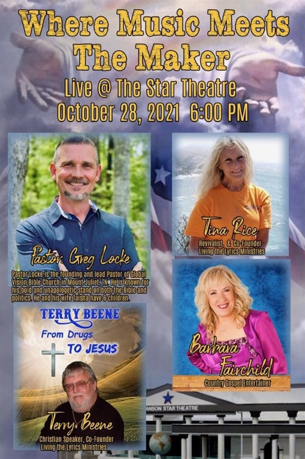 Pastor Greg Locke Where Music Meets The Maker on Oct 28, 18:00@The Branson Star Theater - Pick a seat, Buy tickets and Get information on The Branson Star Theater bransonstartheater