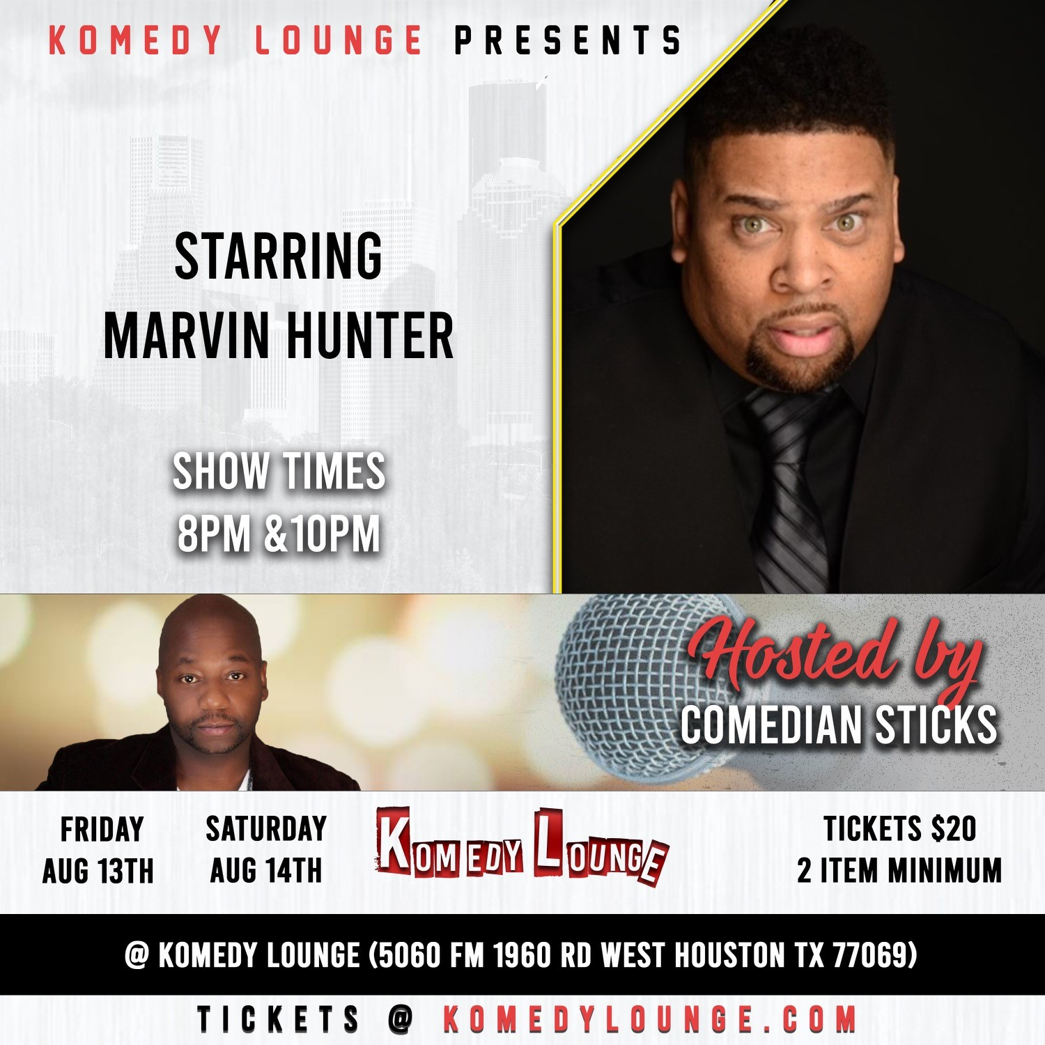 Marvin Hunter Friday  on Aug 13, 20:00@Komedy Lounge - Buy tickets and Get information on komedylounge.com
