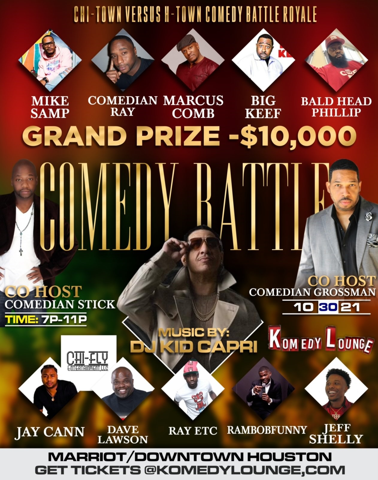 Comedy Battle Royale Chi-Town vs. H-Town on Oct 30, 19:00@Komedy Lounge - Buy tickets and Get information on komedylounge.com