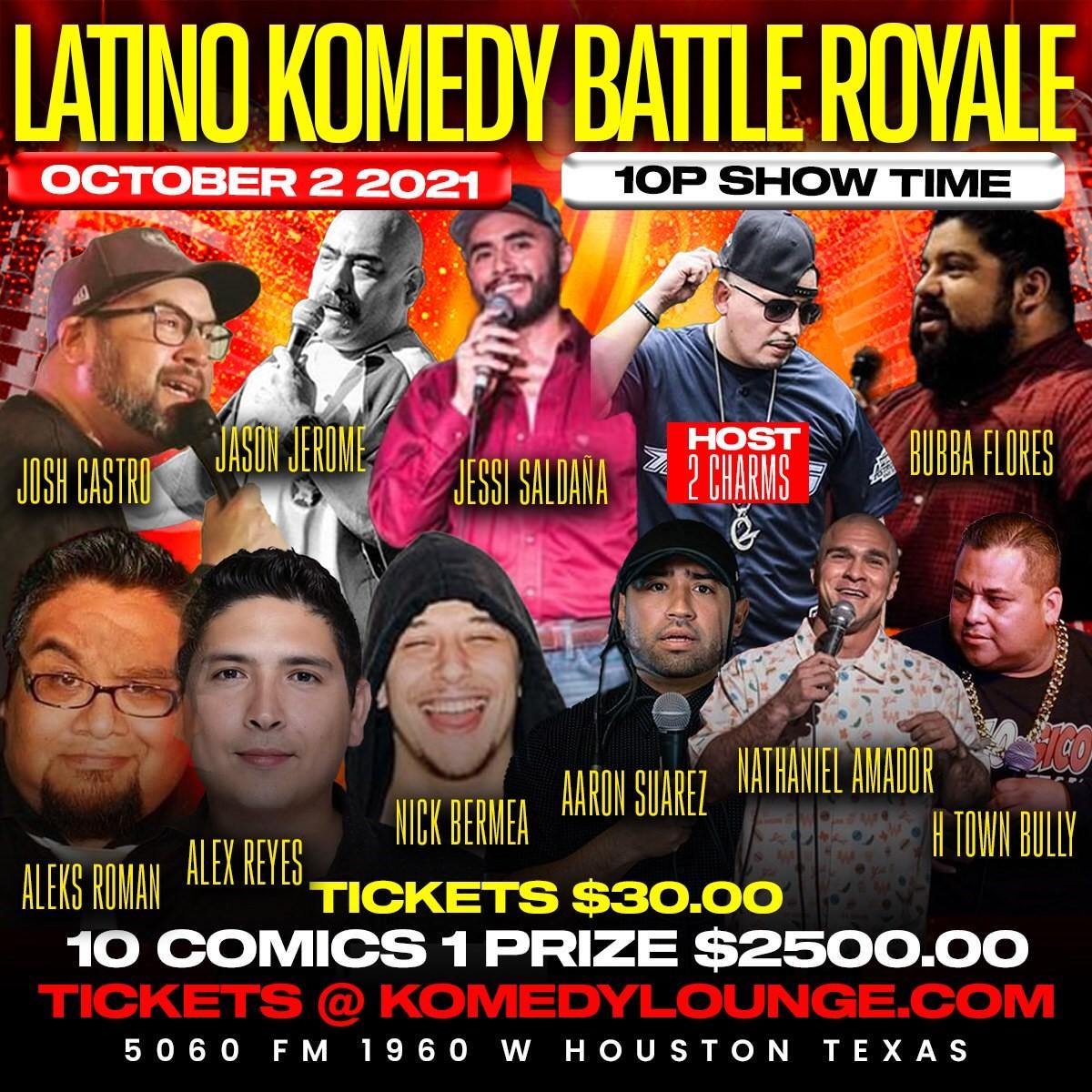 Latino Komedy Battle Royale  on Oct 02, 22:00@Komedy Lounge - Buy tickets and Get information on komedylounge.com