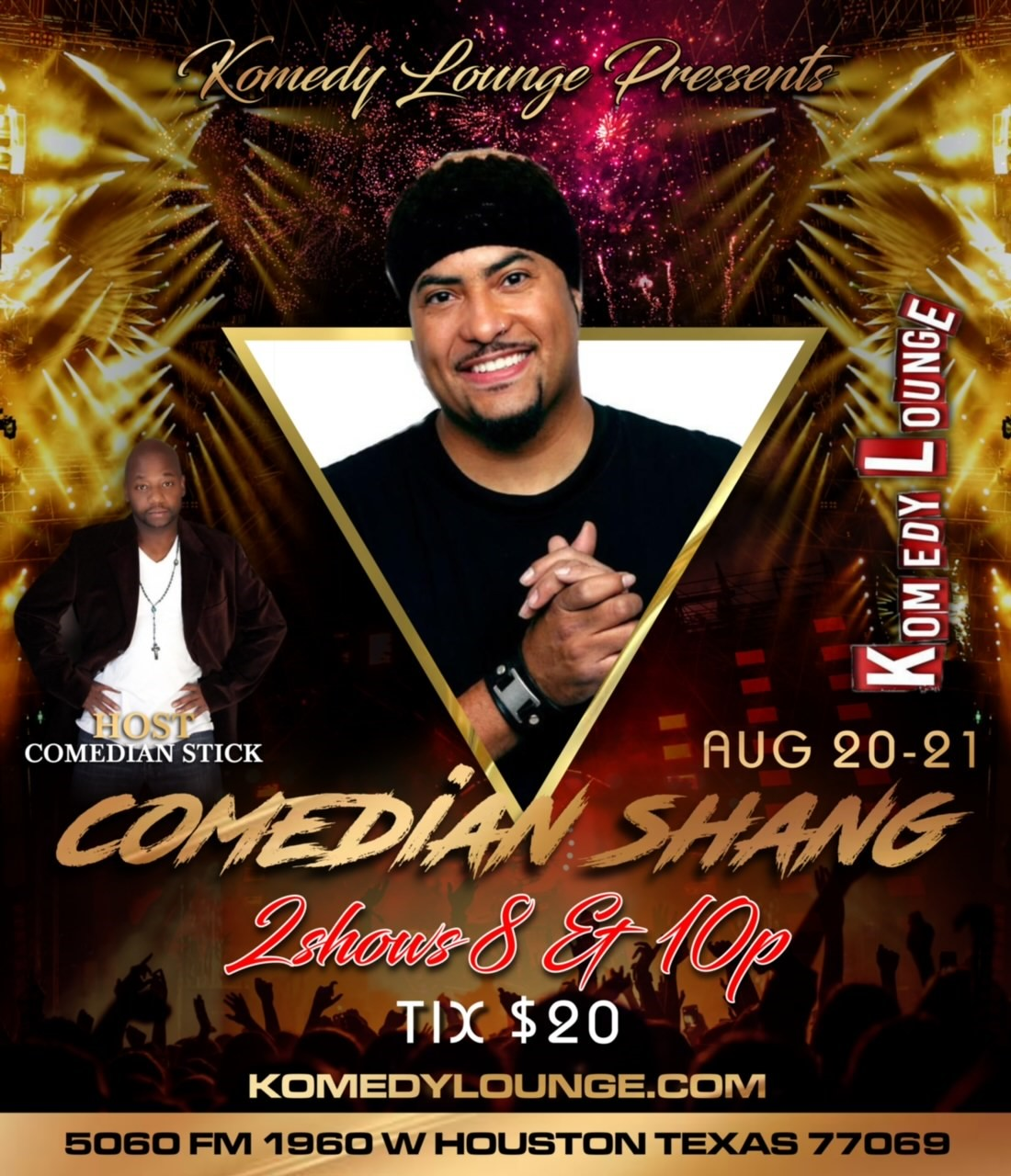 Comedian Shang 8pm  on Aug 20, 20:00@Komedy Lounge - Buy tickets and Get information on komedylounge.com