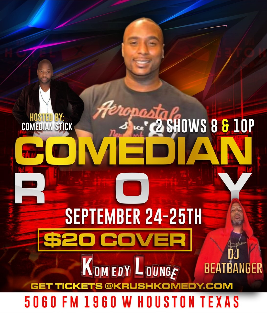 Comedian Roy 8pm  on Sep 24, 20:00@Komedy Lounge - Buy tickets and Get information on komedylounge.com