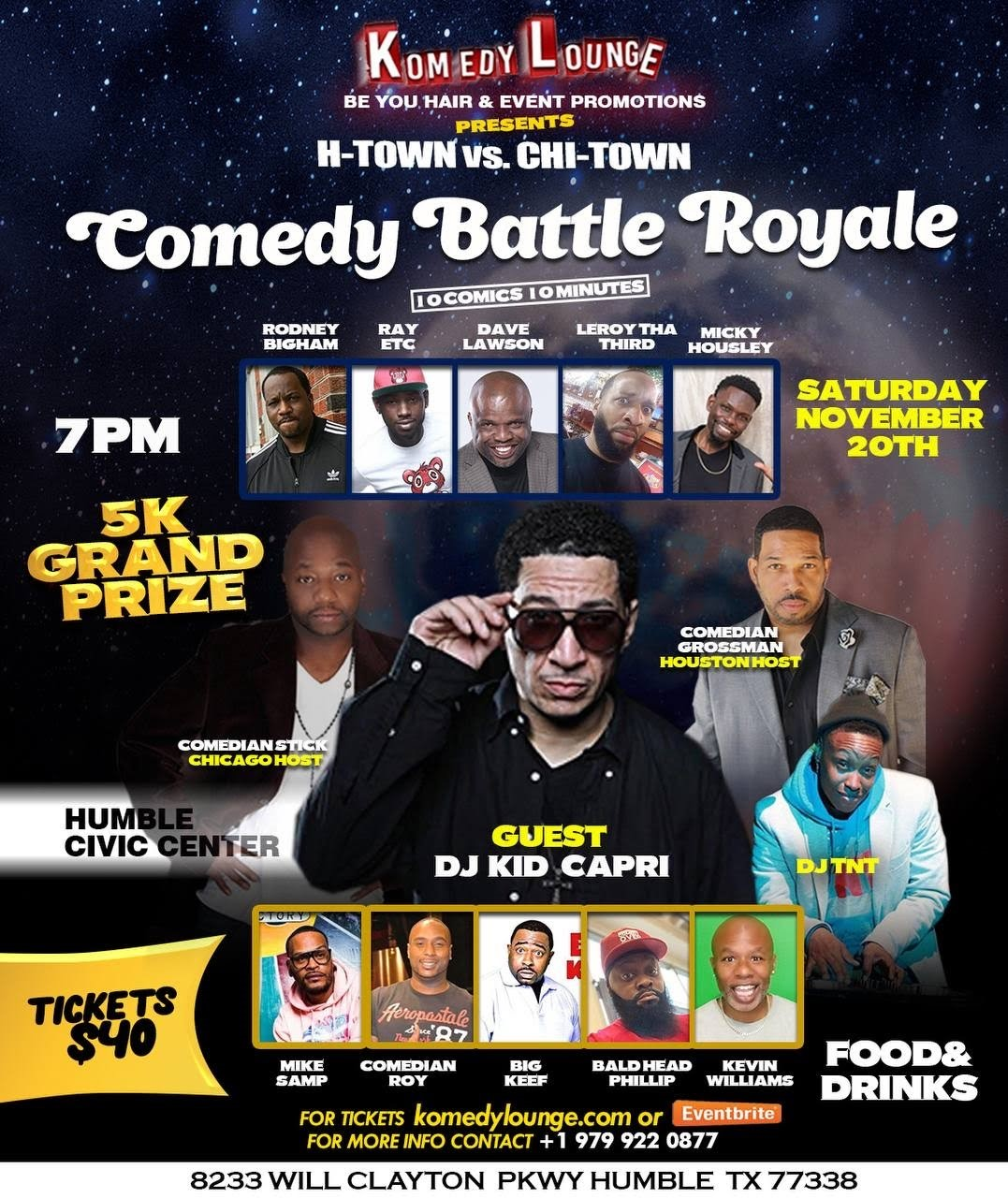 H-Town vs Chi-Town Men Comedy Battle Royale  on Nov 20, 21:00@Humble Civic Center - Buy tickets and Get information on komedylounge.com