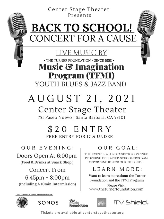 Get Information and buy tickets to Back to School Concert for a Cause Turner Foundation Music & Imagination Program on Center Stage Theater