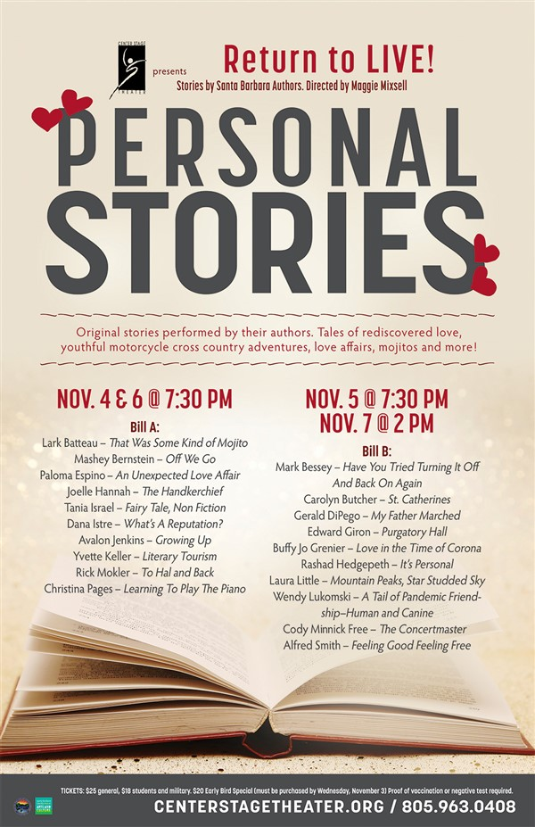 Get Information and buy tickets to Personal Stories – Return to Live!  on Center Stage Theater