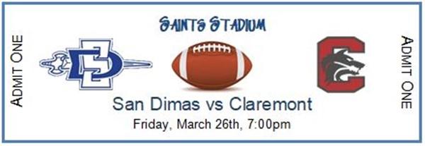 San Dimas High School Varsity Football vs Claremont