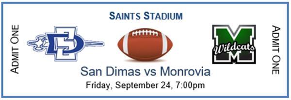 Get Information and buy tickets to SDHS Varsity Football vs Monrovia  on San Dimas High School