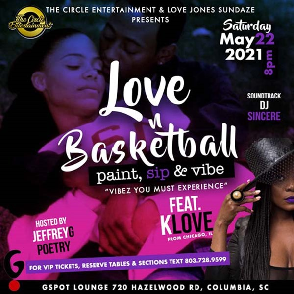 Paint & Sip (Love & Basketball Edition ) Featuring From Chicago K. Love Featuring From Chicago K-Love The Poet on May 22, 20:00@G Spot Lounge - Buy tickets and Get information on www.Wavegraphixllc.com