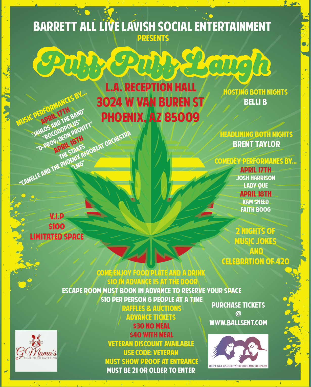 Puff Puff Laugh!!!!!  on Apr 17, 16:00@L.A. Reception Hall - Buy tickets and Get information on www.ballsent.com ballsent