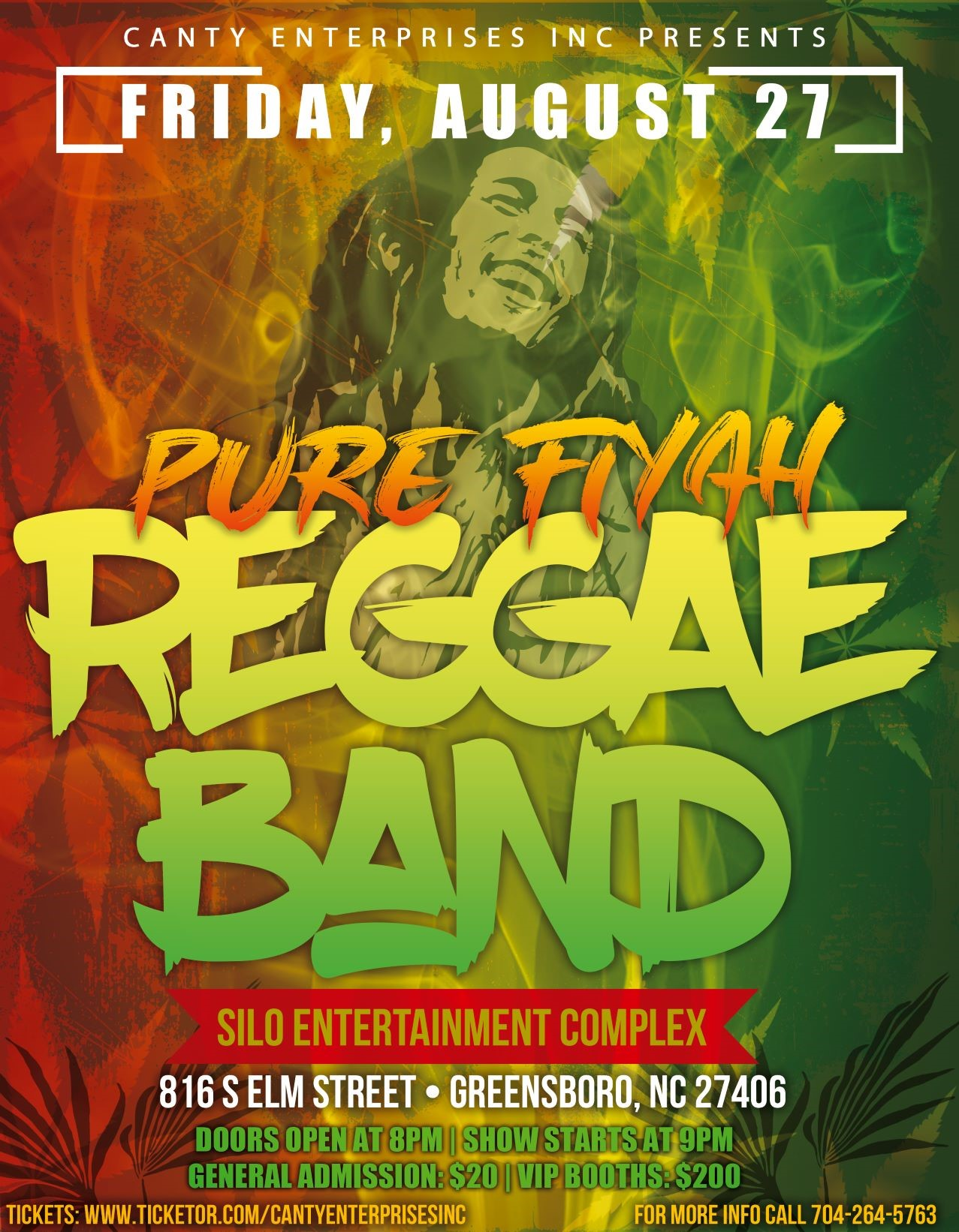 Pure Fiyah Reggae Band  on Aug 27, 20:00@Silo Complex - Buy tickets and Get information on Canty Enterprises Inc
