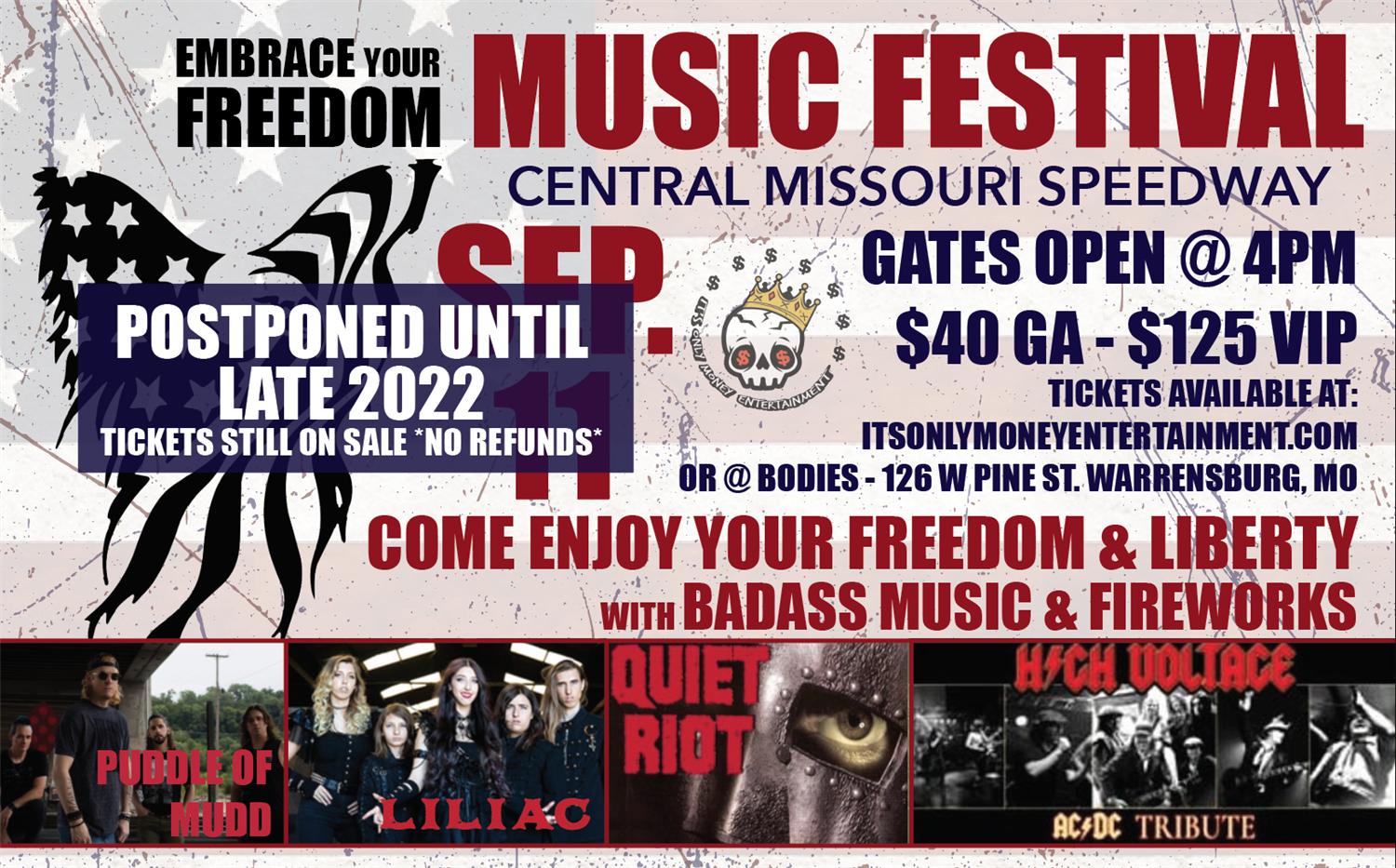 Embrace your Freedom Festival  on Sep 11, 16:00@Central Missouri Speedway - Buy tickets and Get information on It's only money entertainment