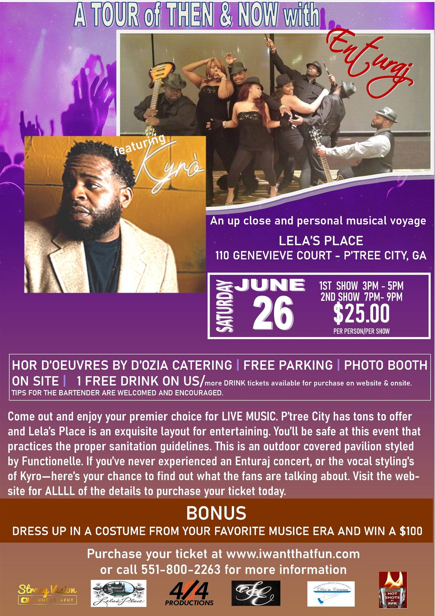 A Tour of Then and Now with Enturaj an up close and personal musical voyage on jun. 26, 15:00@Lela's Place - Buy tickets and Get information on iwantthatfun