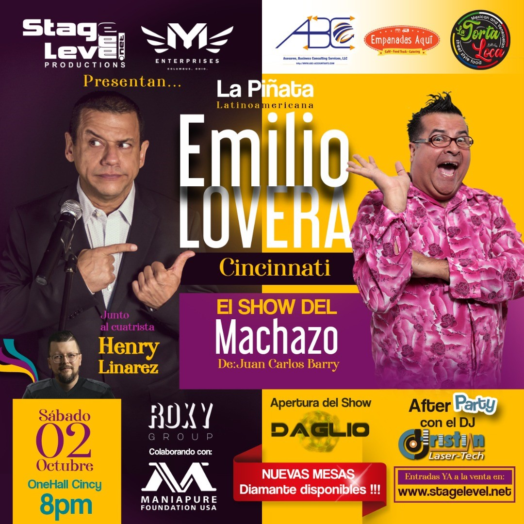 EMILIO LOVERA - LA PIÑATA LATINOAMERICANA... Por primera vez en Cincinnati !!! on Oct 02, 20:00@OneHall Cincy - Pick a seat, Buy tickets and Get information on stagelevel.net stagelevel.net