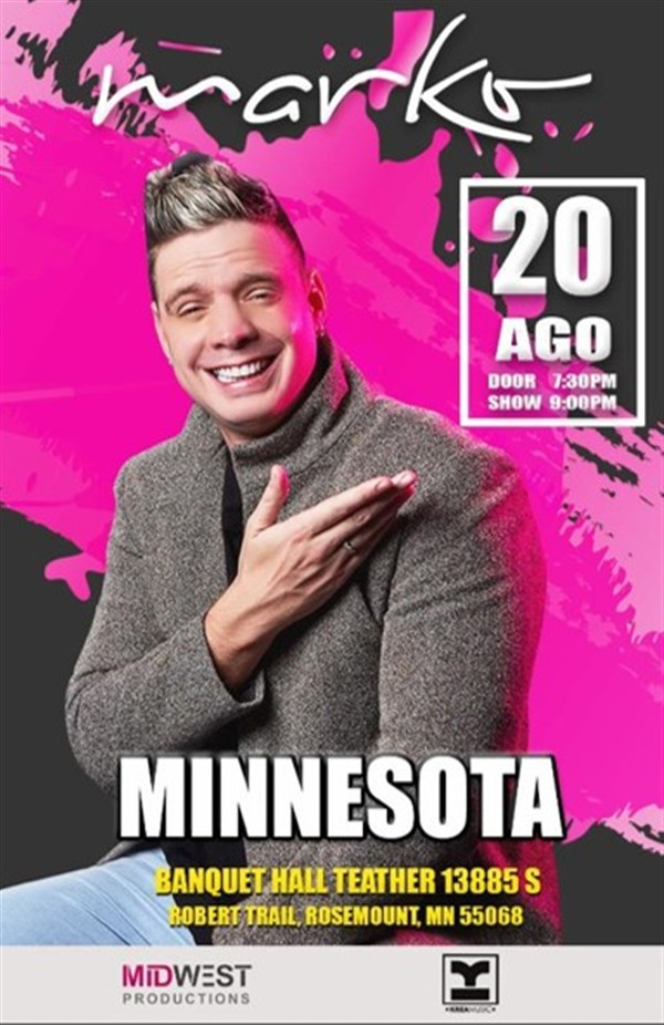 MARKO  MUSICA en Minnesota por primera vez con su stand up Comedy on ago. 20, 19:00@AUDITORIO - Pick a seat, Buy tickets and Get information on MIDWEST  PRODUCTIONS