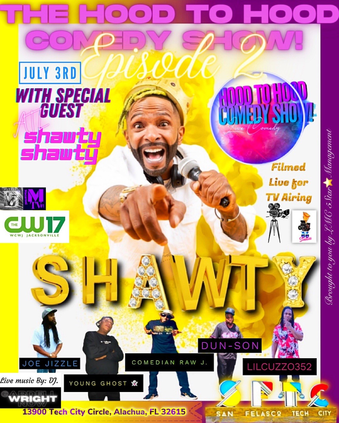 The Hood To Hood Comedy Show Episode 2 on Jul 03, 20:00@San Felasco Tech City - Pick a seat, Buy tickets and Get information on LMC 5Star Management LLC.