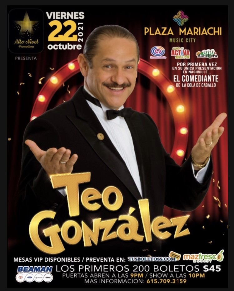 Teo Gonzalez ALTO NIVEL PROMOTIONS PRESENTA on Oct 22, 21:00@PLAZA MARIACHI - Pick a seat, Buy tickets and Get information on TUSBOLETOSS.COM