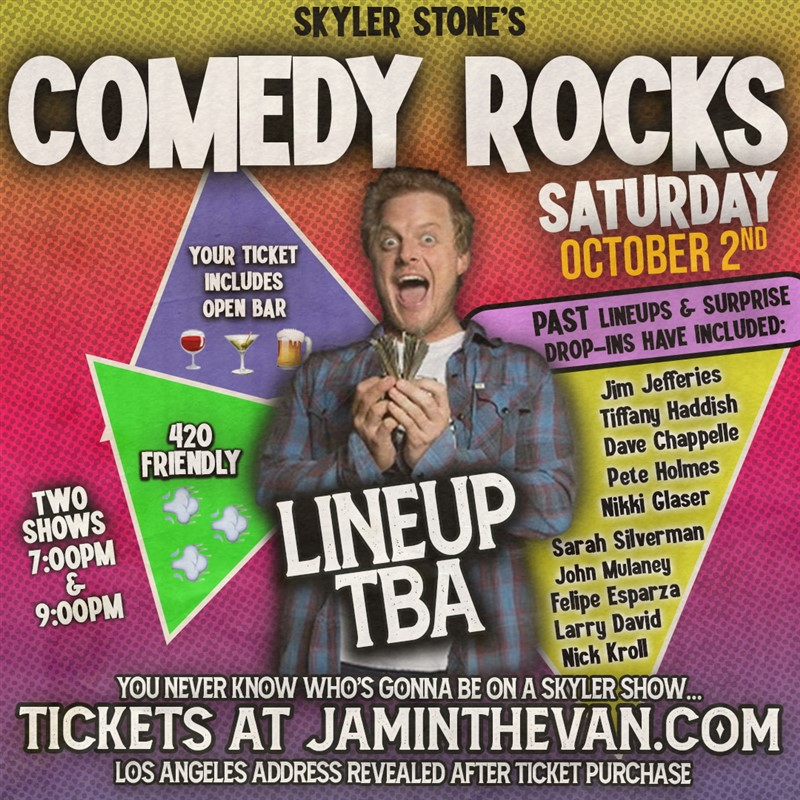 Get Information and buy tickets to Skyler Stone's Comedy Rocks Early Show on Jam in the Van