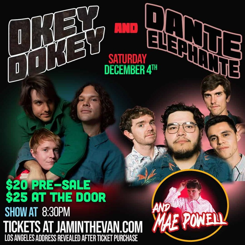 Get Information and buy tickets to Okey Dokey with Dante Elephante and Mae Powell on Jam in the Van