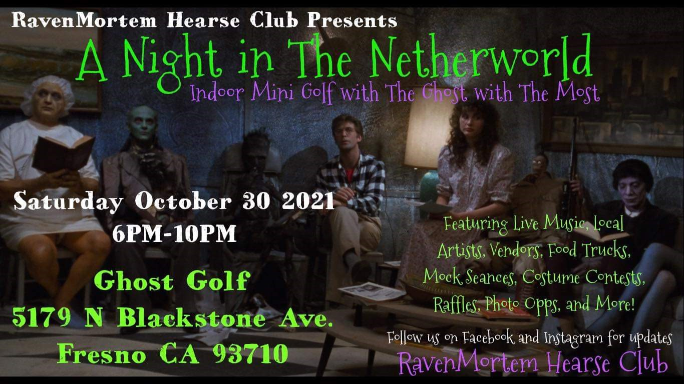 Raven Mortem Presents NIGHT IN THE NETHERWORLD on Oct 30, 18:00@Ghost Golf - Buy tickets and Get information on Raven Mortem Hearse Club