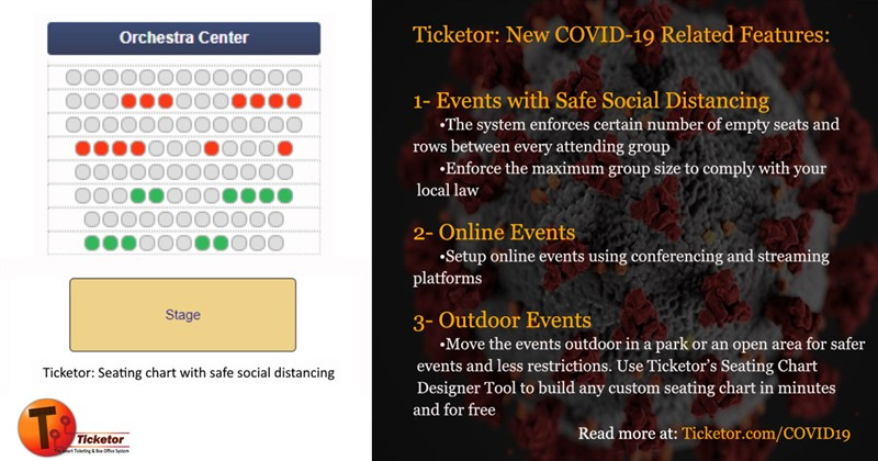 Obtener información y comprar entradas para Event with Social Distancing Assigned seat event in a concert hall / 1200 seats en Ticketor Demo.