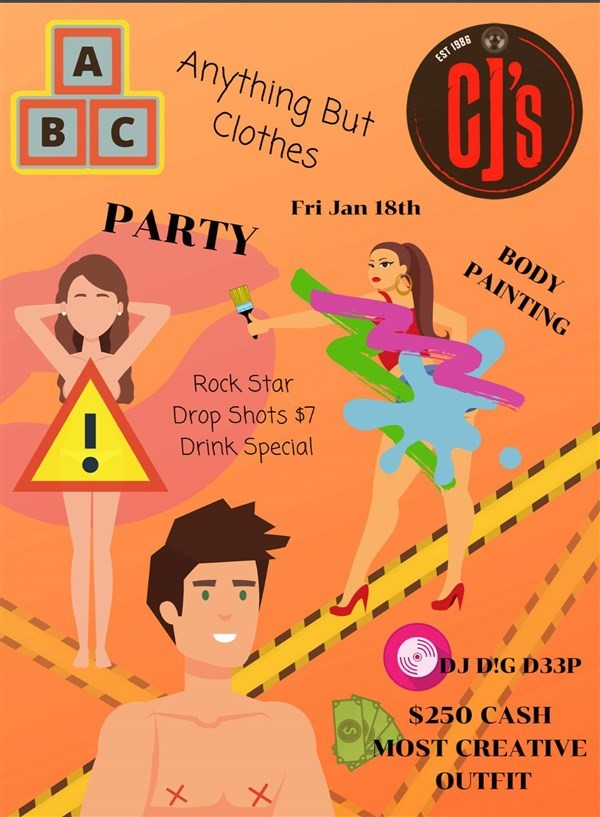 Get Information and buy tickets to ABC Party : Anything But Clothes  on www.KamTix.ca
