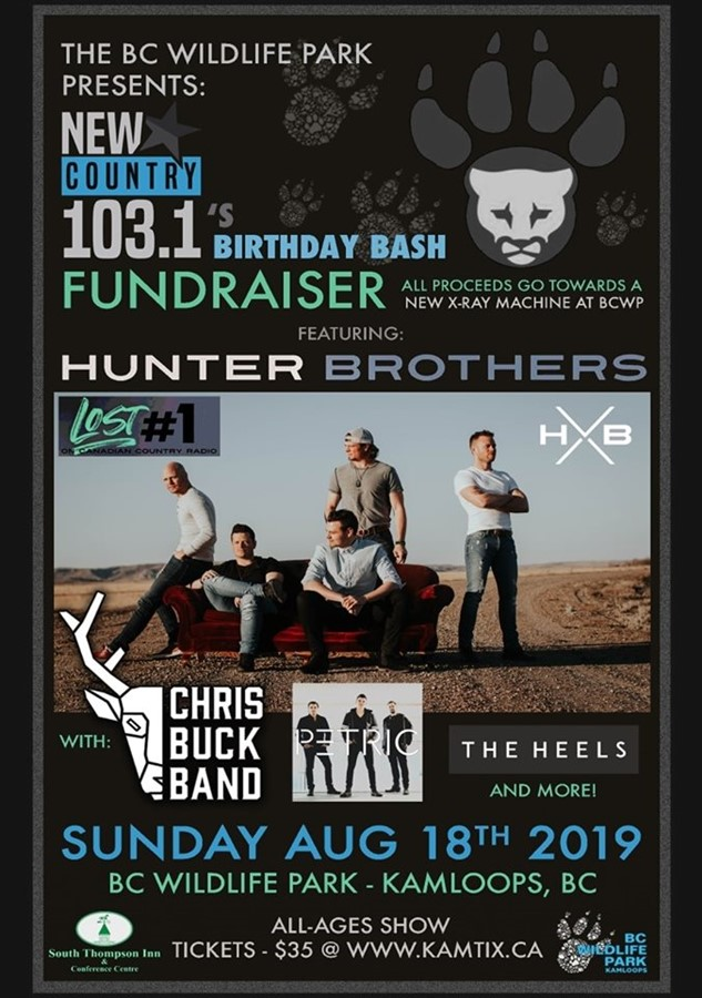 Get Information and buy tickets to BC Wildlife Park FUNDRAISER featuring HUNTER BROTHERS on www.KamTix.ca
