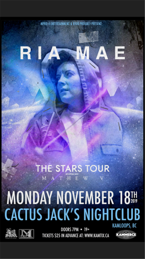 Get Information and buy tickets to Ria Mae #TheStarsTour w/ Mathew V on www.KamTix.ca