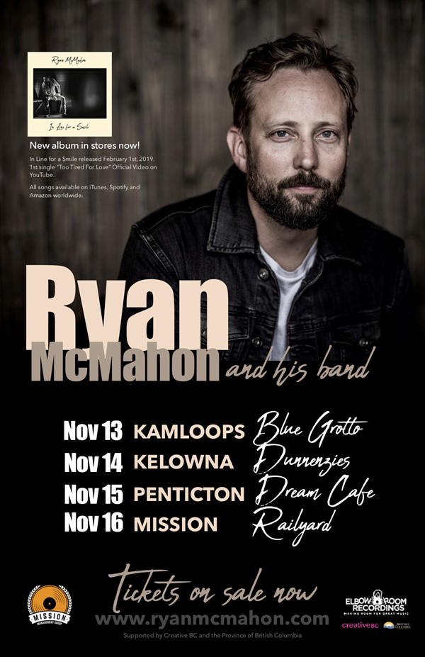 Get Information and buy tickets to Ryan McMahon & his band (of Lion Bear Fox) on www.KamTix.ca