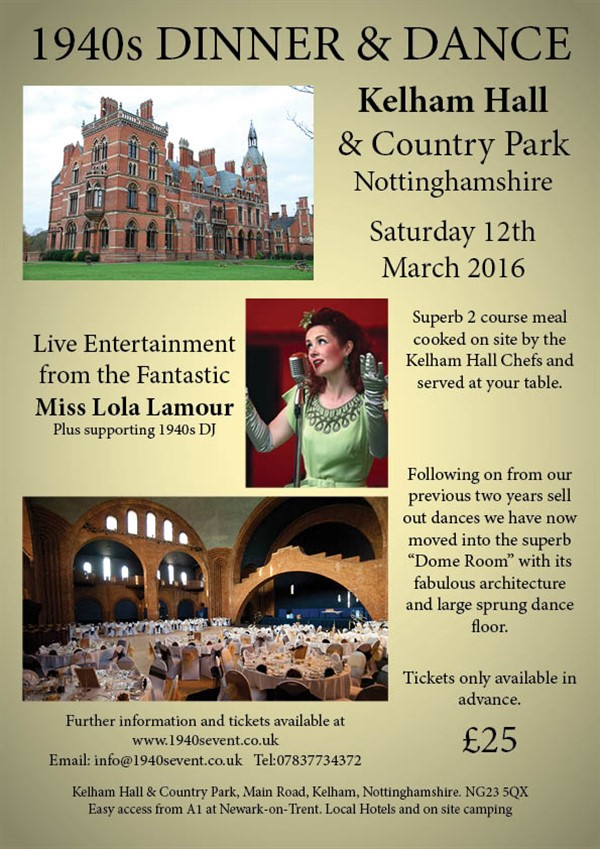 Get Information and buy tickets to Kelham Hall 1940s Dinner  Dance 2016 With Miss Lola Lamour on Turn Back Time