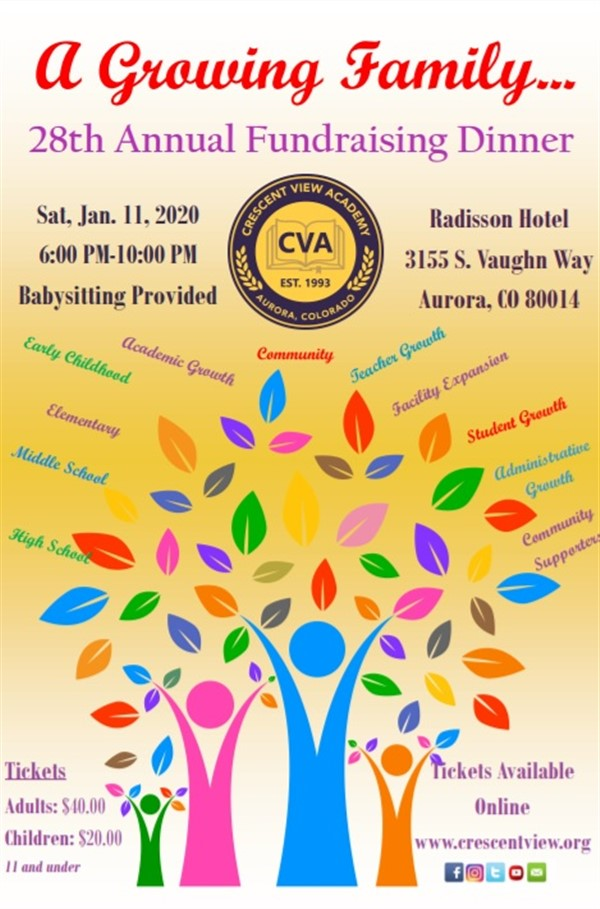 Get Information and buy tickets to CVA Annual Fundraising Banquet 2020 After 4:45 PM on event day, tickets available at the venue on Crescent View Academy